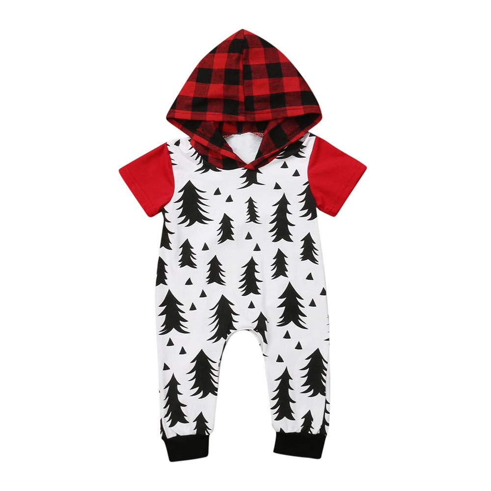 Outtop(TM) Baby Boys Girls Christmas Romper Newborn Infant Plaid Hooded Jumpsuit Pajamas Homewear Outfits