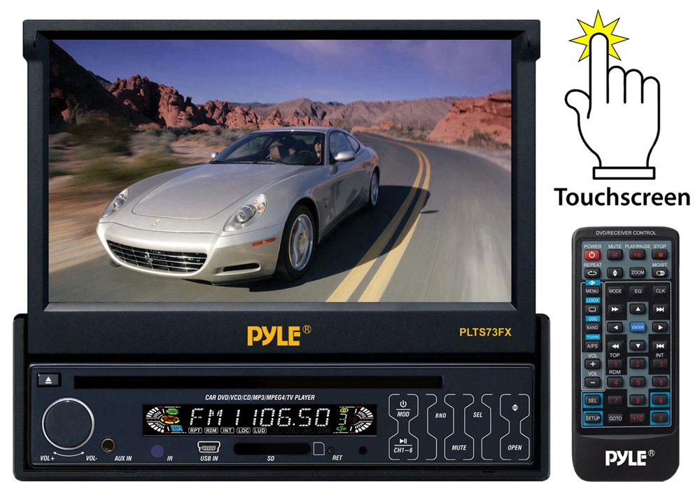 Pyle AZPLTS73FX 7'' Single DIN In-Dash Motorized Touch Screen TFT/LCD Monitor