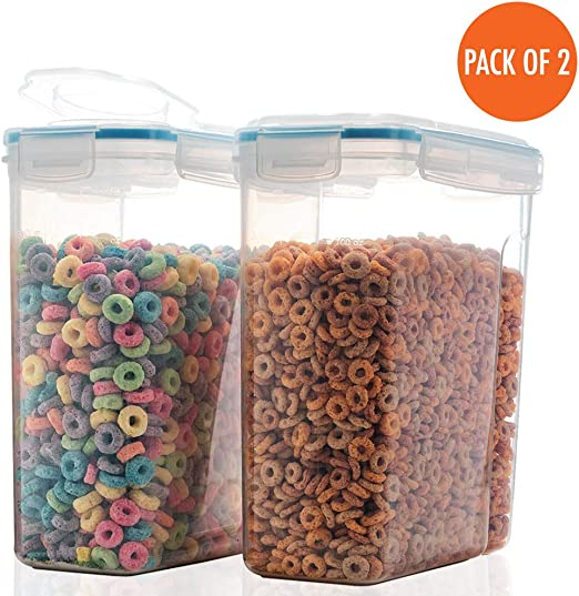 2 Pack Cereal Container Food Storage Containers Airtight Flour Containers Keeper