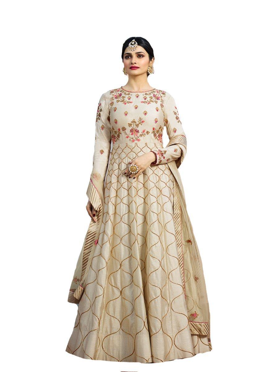 ziya Ready Made Designer Indian Wear & Ethnic Wear Anarkali Salwar Suit Kasheesh Rajmahal (Off-White, M-40)