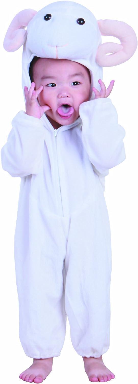 Fun Play - Disfraz de Carnero u Oveja para niños - Disfraz de Animal - Mono de una Pieza para Niños y Niñas - Disfraz para niños de 5-7 años (122cm)