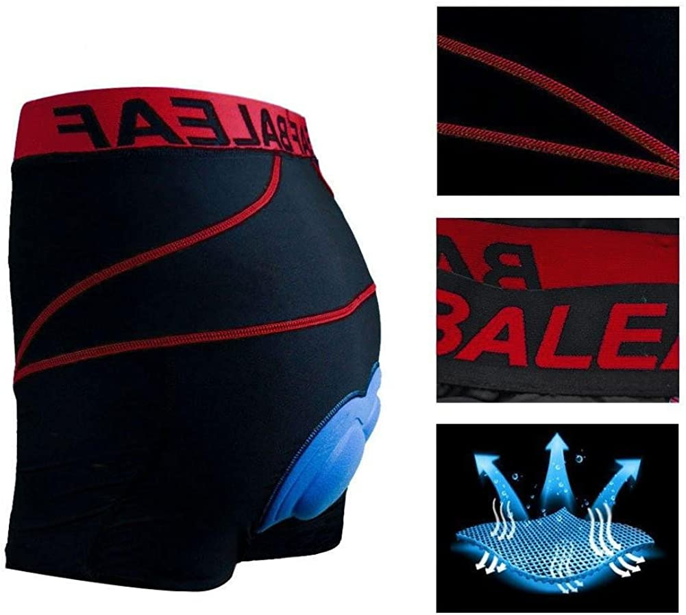 Baleaf Mens Bike Cycling Underwear Shorts 3D Padded Bicycle MTB Red, S