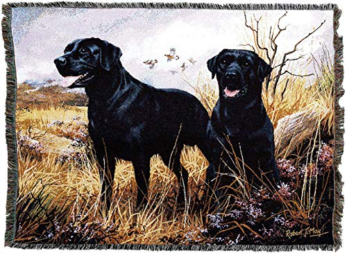 Pure Country Weavers - Labrador Retriever Black Woven Tapestry Throw Blanket with Fringe Cotton USA Size 72 x 54