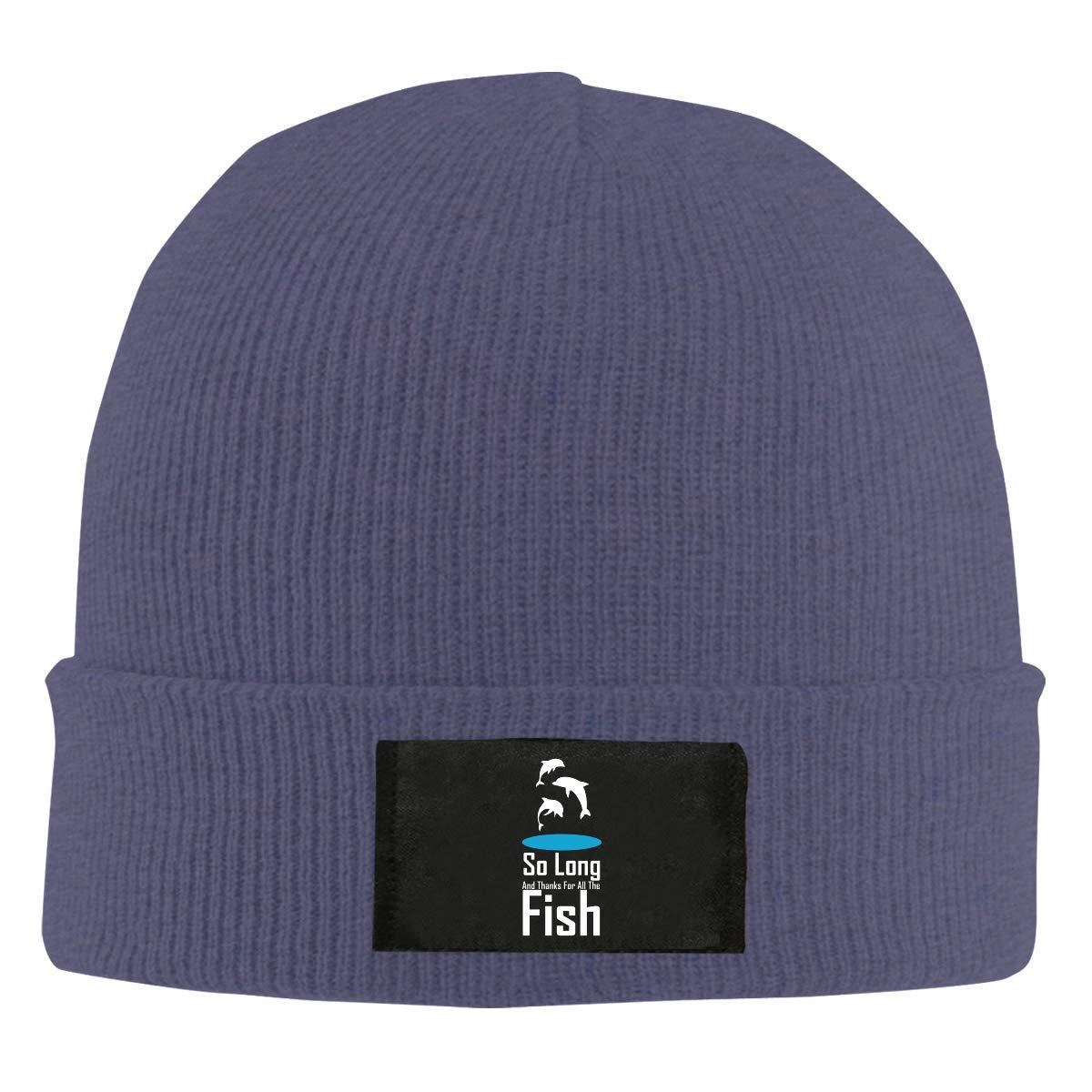 LRHUI So Long Fish Winter Knitted Hat Warm Wool Skull Beanie Cap