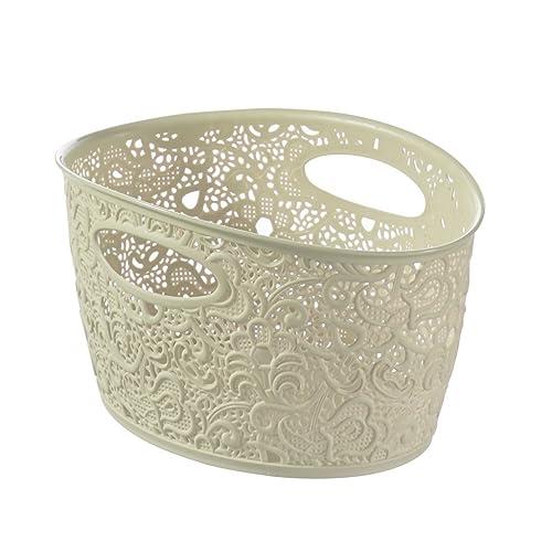 Curver Victoria Medium Lace Effect Plastic Storage Basket, Vintage White, 4.3 Litre