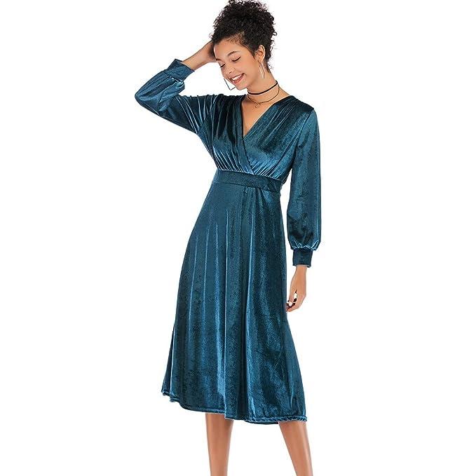 Topgrowth Vestito Donna Eleganti Abito in Velluto con Scollo A V sul Retro  Attraversare Manica Lunga Vestito Grande Swing Formale Vestito da Festa  ... deb581abe02