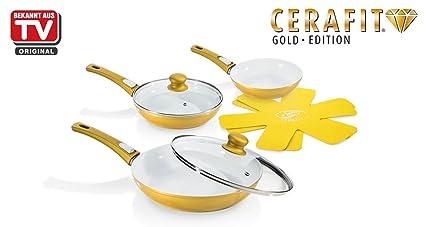 Genius – DIS1 Cerafit Deluxe cacerola de oro 7 piezas de cerámica Cacerola Sartén