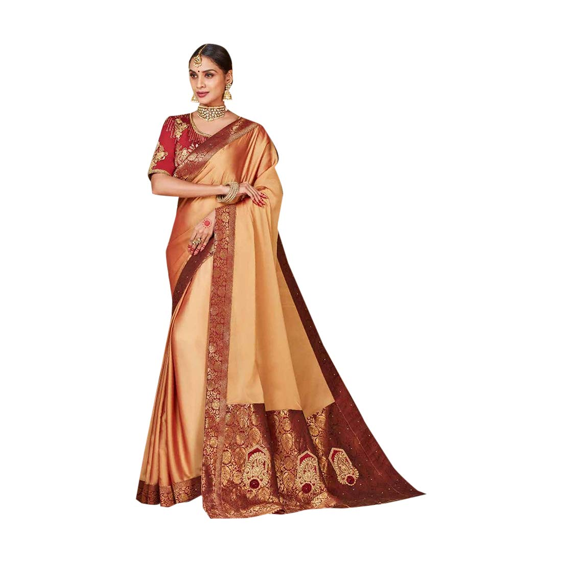 Bollywood Designer Rich Satin Silk Saree with Stylish Blouse for Women Indian Festive Party wear 7628