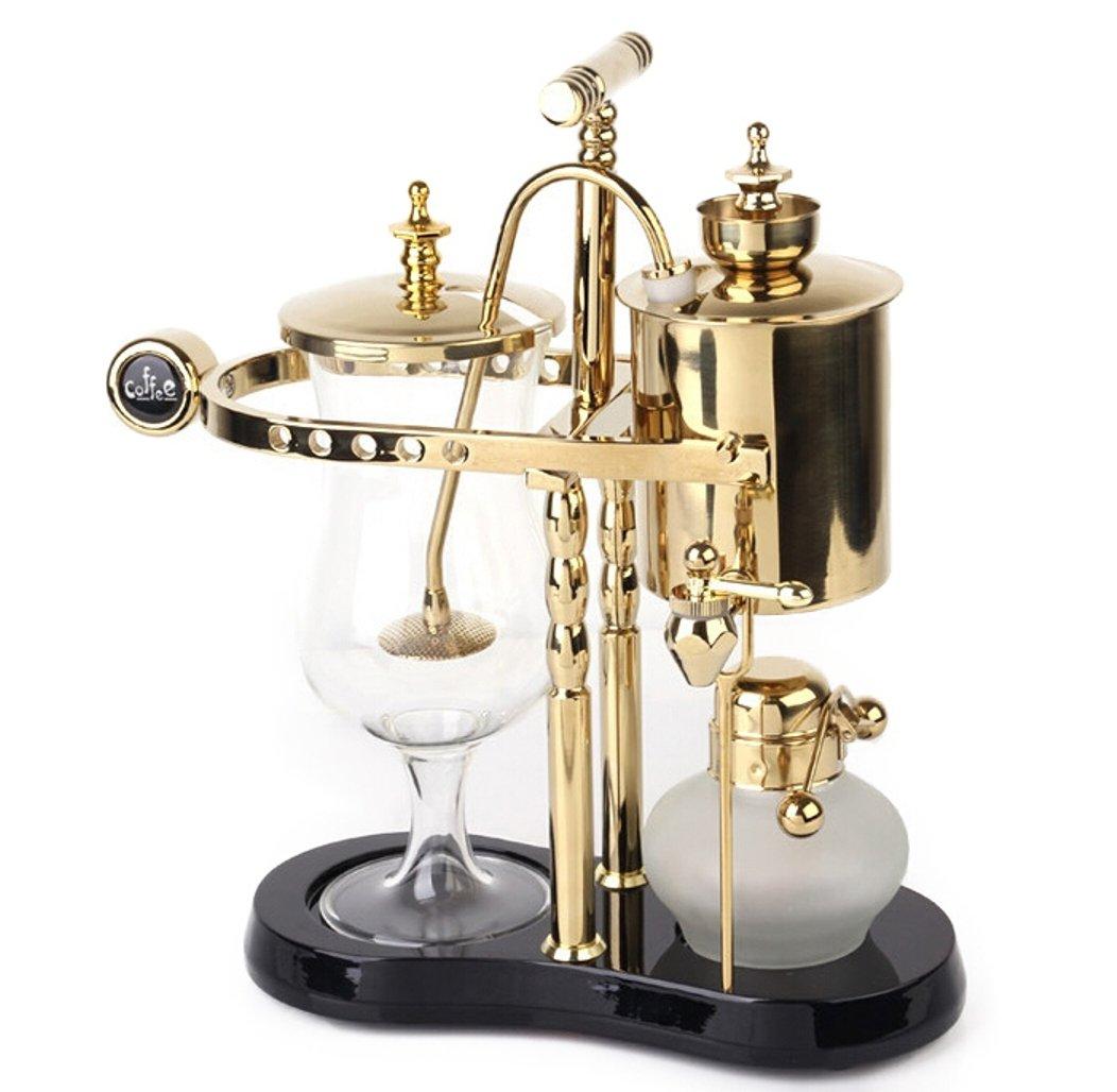 Diguo Belgian/Belgium Luxury Royal Family Balance Siphon/Syphon Coffee Maker. Elegant Double Ridged Fulcrum with Tee handle (Classic Gold)
