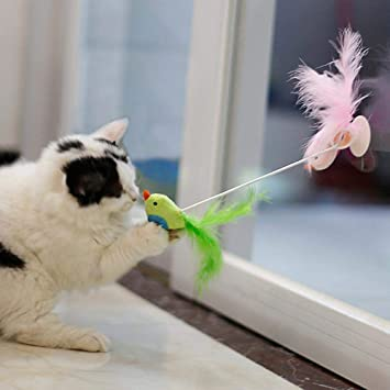 FOONEE Juguete de Plumas de Gato, Plumas Naturales Interactivo de Cristal de Navidad con Campanas para Conducir a tu Gato Silvestre, Gatos: Amazon.es: Hogar