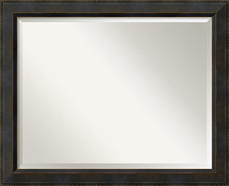 Amanti Art Framed Solid Wood Signore Bronze Medium Wall Mirror 32.38 x 26.38 , Glass Size 28×22,