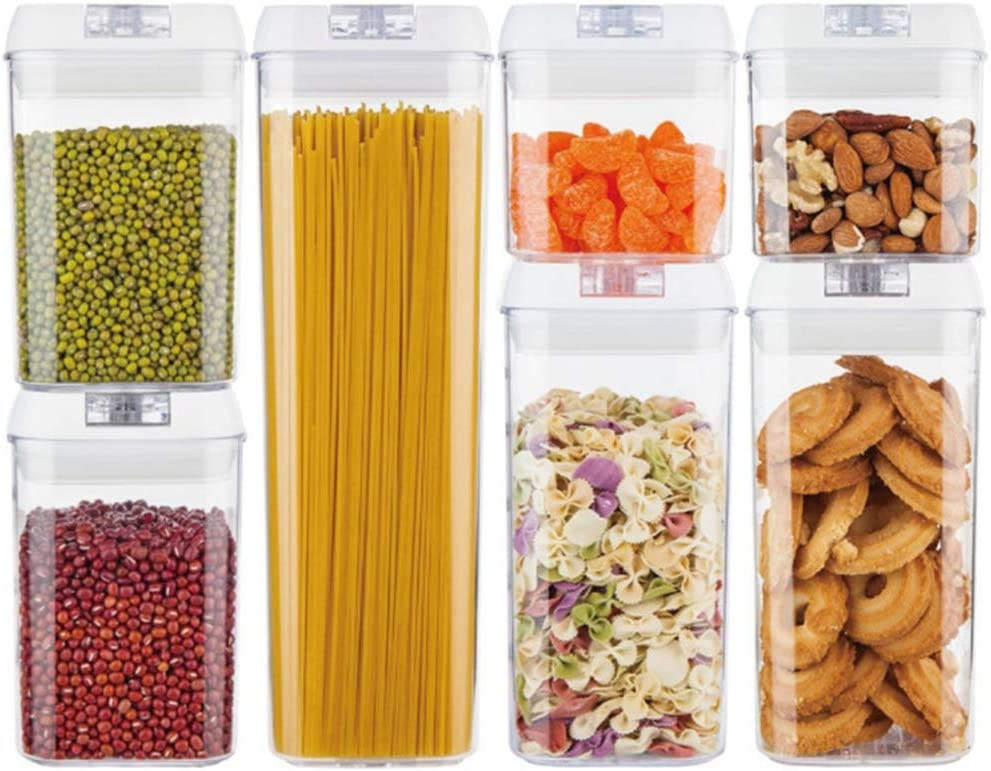 Food Storage Container Set,Pantry Organization and Storage, Kitchen Canisters with Lids, Leak-Proof Pantry Storage Containers for Flour, Sugar, Baking Supplies,7PCS Set