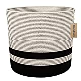 Goodpick 18.1''×16.1'' Extra Large Cotton Rope Basket for Blankts Living Room - Woven Storage Baskets - Soft Floor Basket with Handle for Baby Nursery Decor - Tall Basket Blanket Neutral Hamper Toys B
