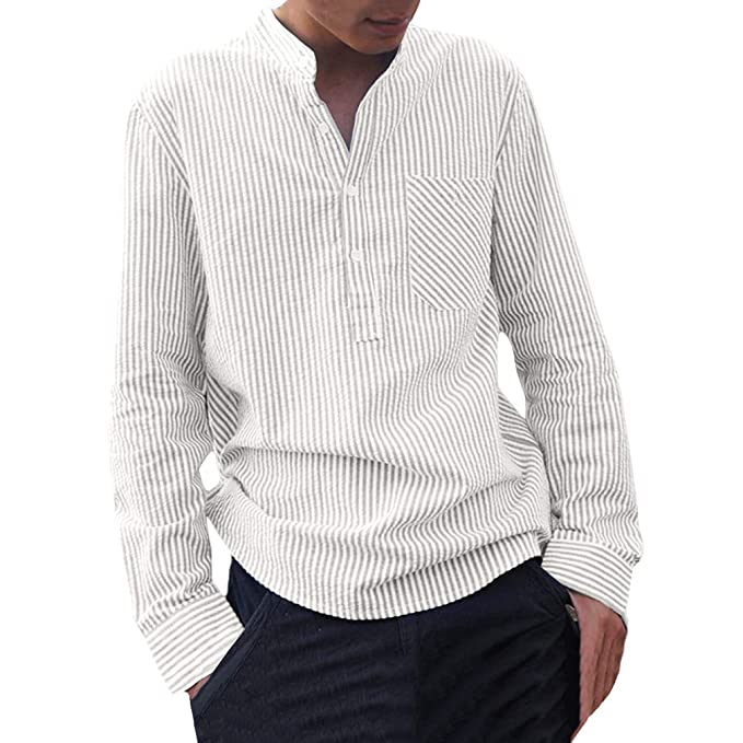 a61e856b497722 Camicia a Righe Uomo Moda Manica Lunga Regular Fit Shirt con Bottoni Uomo  Collo Coreano Casual Camicie Tops per Primavera e Autunno: Amazon.it: ...