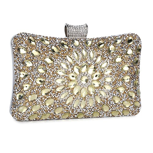 Wholesale Handbags Womens (Clocolor Evening Bags and Clutches for Women Crystal Clutch Beaded Rhinestone Purse Wedding Party Handbag(Golden))