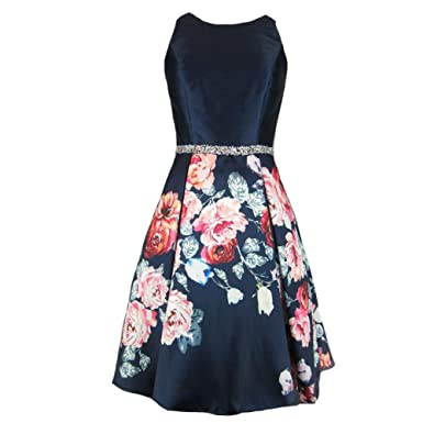abf6050f1a1 Lemai Sleeveless Short Floral Printed Beaded Prom Dress Homecoming Evening  Gowns at Amazon Women s Clothing store