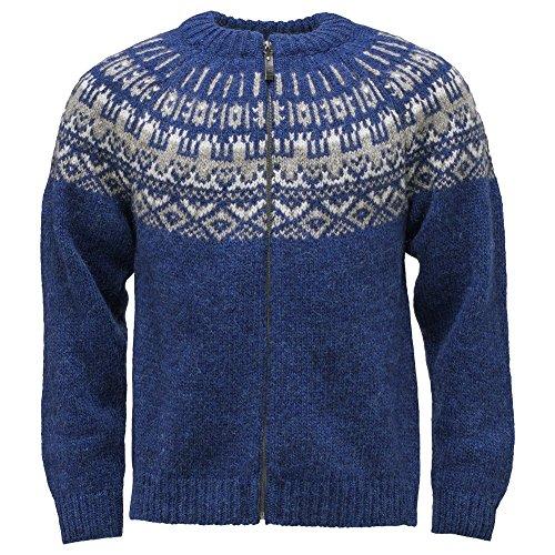 ICEWEAR Elis Men's Sweater Lopapeysa Design 100% Icelandic Wool Long Sleeve Winters Full Zip Sweater   Blue - Large - Sweaters Icelandic Wool