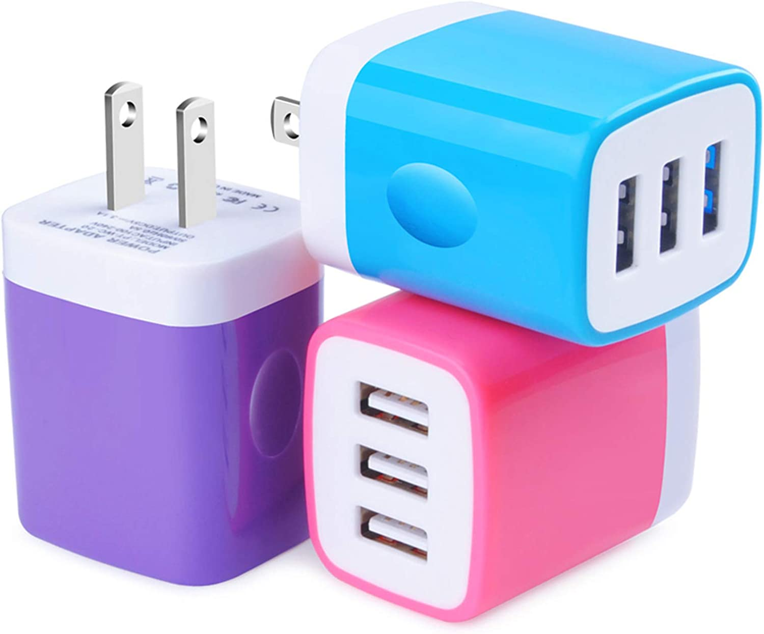 USB Wall Charger MultiPort, Hootek 3Pack Wall Charger Block 3.1A Muti Port USB Charger Adapter Power Cube Charging Plug Box Compatible iPhone 11/XS/XR/8/7/6S Plus, iPad, Samsung Note20, LG, HTC, Moto