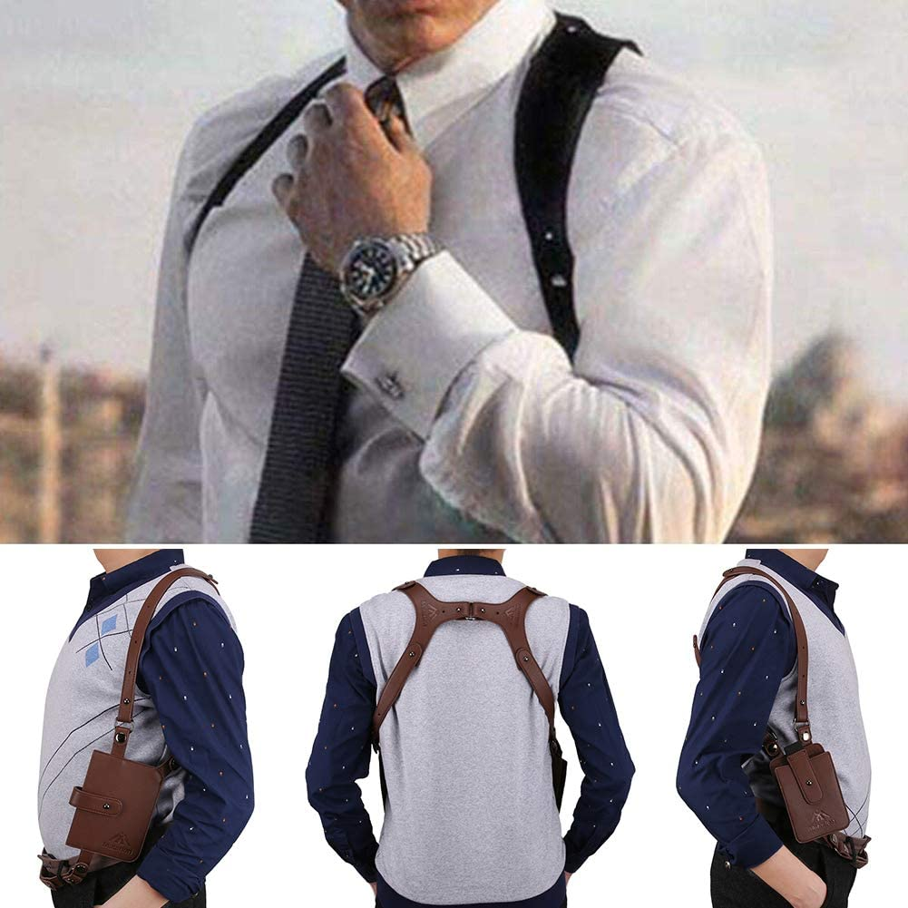 Black Neween Anti-Theft Hidden Underarm Strap Wallet Phone Holster Bag Leisure Cow Leather Shoulder Pouch Double Shoulder Pocket Sport Vest Outdoors