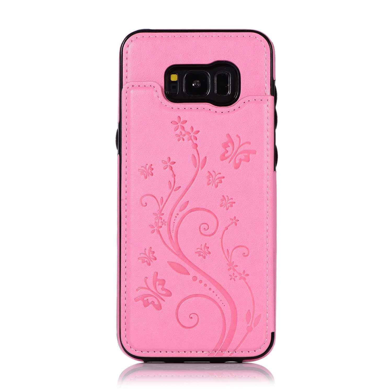Coque Galaxy S8 Plus, SONWO Etui en Cuir de PU Flip Wallet Cover Housse avec Fentes pour Cartes et Stand Fonction pour Samsung Galaxy S8 Plus, Rosa