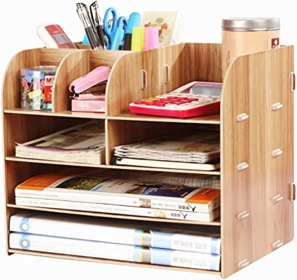 Organizador de escritorio para oficina, organizador de mesa, organizador para el hogar, mando a distancia, caja de almacenamiento, escritorio para niños, color marrón: Amazon.es: Oficina y papelería