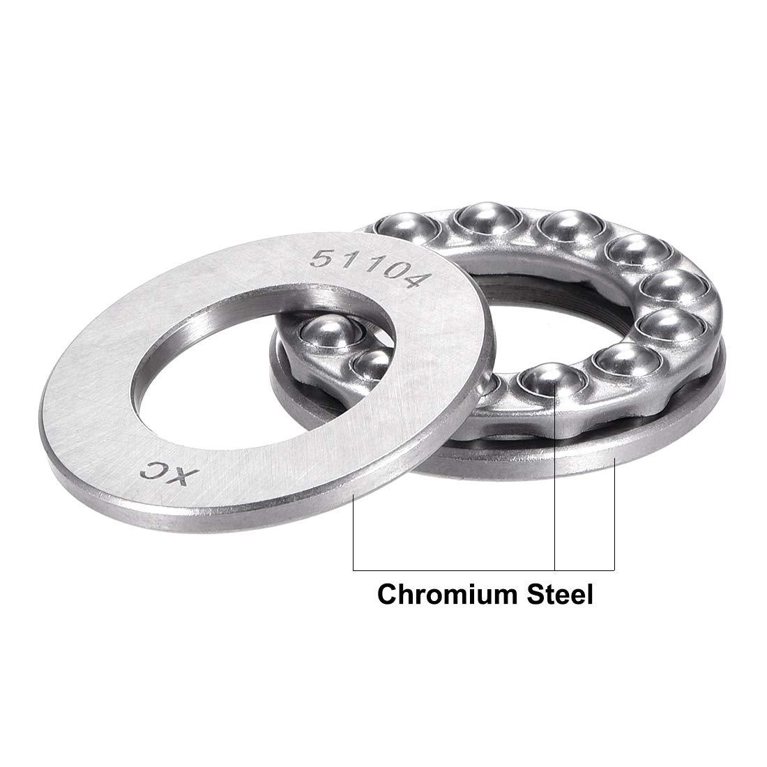 sourcingmap 51101 Single Direction Thrust Ball Bearings Flat Seat Chromium Steel,12x26x9mm 2pcs