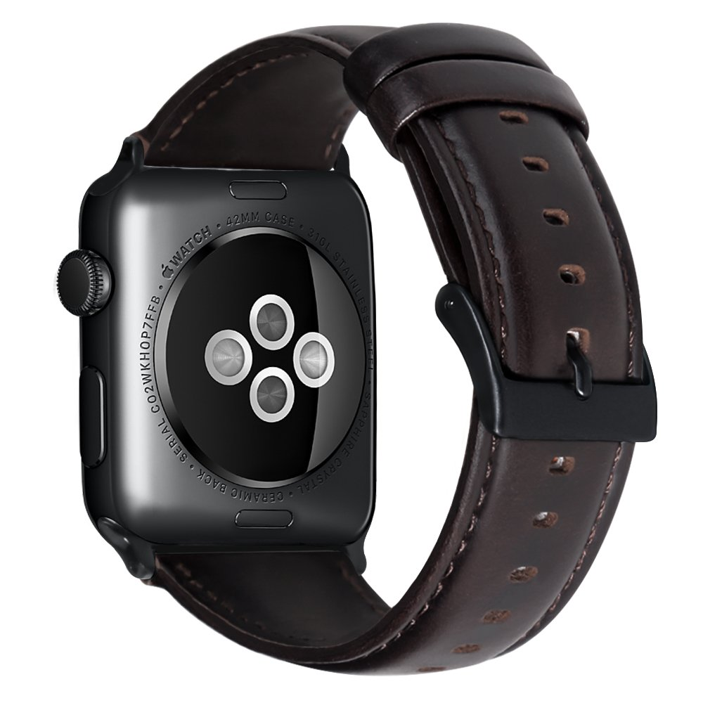 JAZ for Apple Watch Band Leather 42mm Bands iwatch Series 1 2 3 Sports Replacement Strap Dressy Classic Buckle Vintage Case Band with Black Stainless Steel Adapters for Men Women 42mm Brownish Black