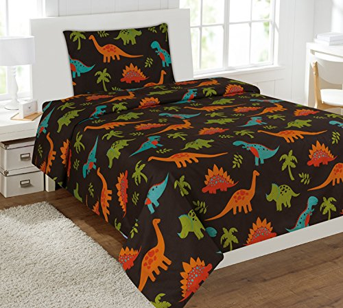 Twin 3 Pieces Printed Kids Sheets Bed Cover with Pillow Case with Modern Designs (Twin, DINOSAUR BROWN)