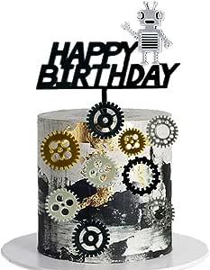 13 PCS JeVenis Acrylic Robot Cake Topper Robot Happy Birthday Cake Decoration Gear Cake Topper