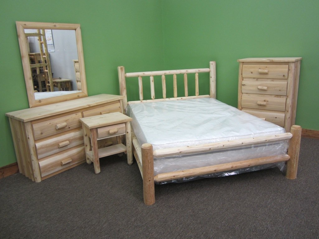 Midwest Log Furniture - Premium Log Bed - Queen