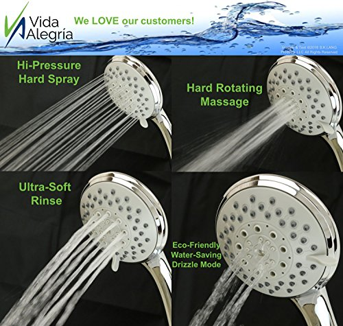 Vida Alegría H5+ 2.5GPM Handheld Shower Head with Steel Hose, Holder, 5 Sprays (Chrome) - incensecentral.us