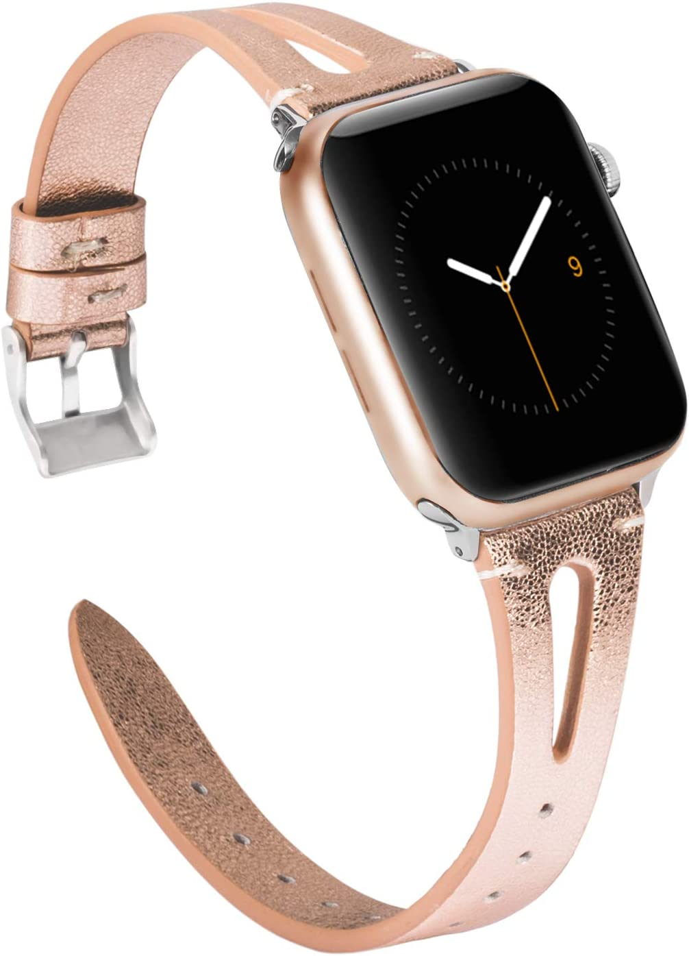Wearlizer Rose Gold Leather Compatible with Apple Watch Bands 38mm 40mm for iWatch Womens Mens Top Grain Leather Strap Cool Triangle Hole Wristband Replacement (Silver Buckle) Series 5 4 3 2 1 Sport