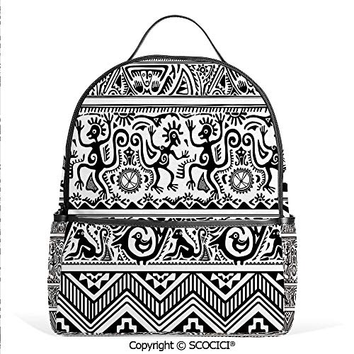 Lightweight Chic Bookbag Monkeys Birds Primitive Animal Motifs Tribal Ornaments African Petroglyph Theme,Black White,Satchel Travel Bag Daypack (Of Pottery Ornaments Days Barn 12 Christmas)
