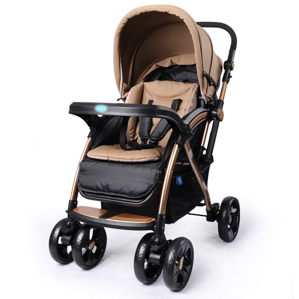 Strollers Baby Stroller High Landscape Baby Trolley Car Wheelchair Baby Stroller Portable Folding Pram Dinner Plate Armrest Bottom Basket Baby Carriage (Color : A)