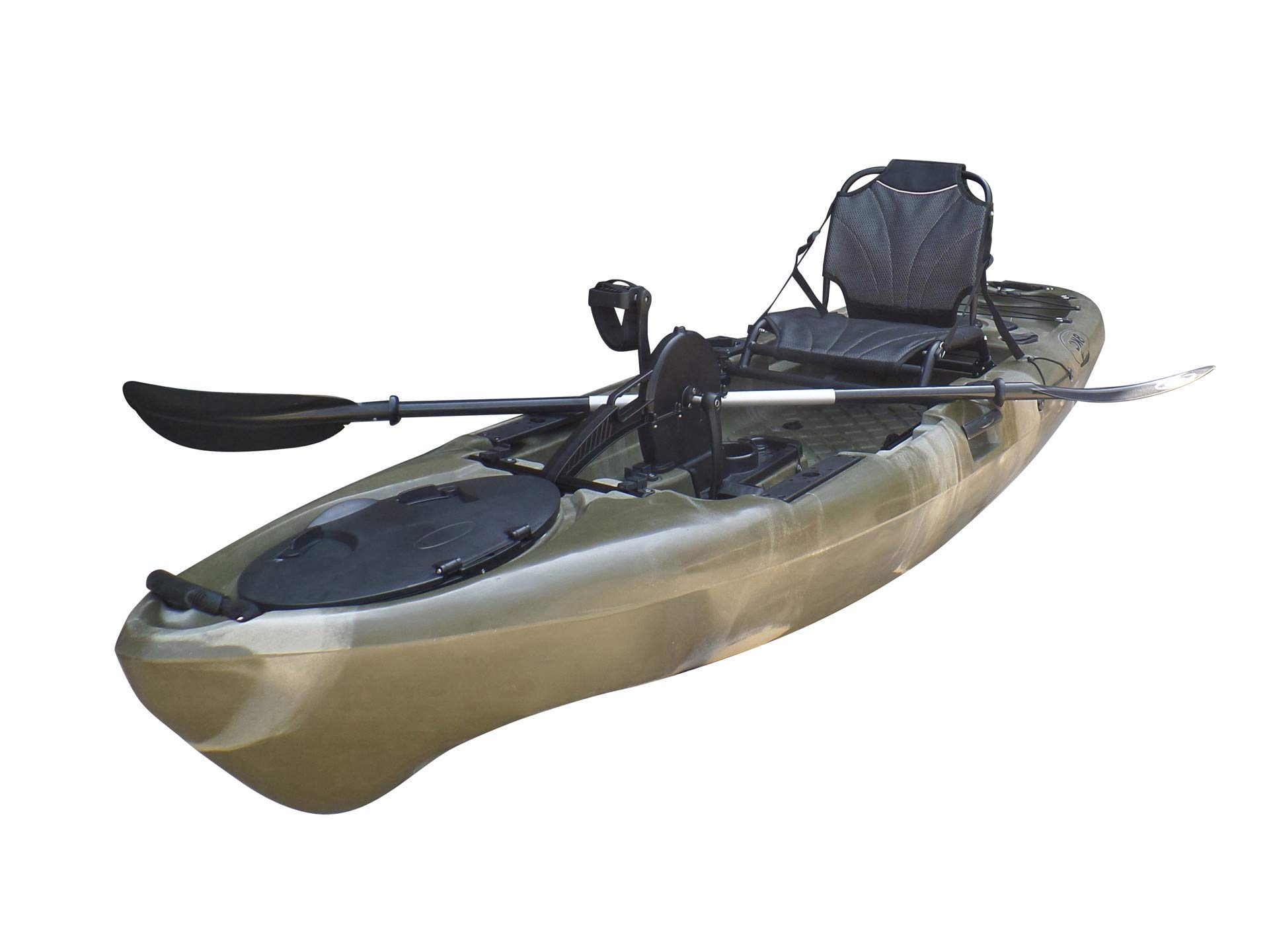 BKC UH-PK11 Pedal Drive Solo Rover 10-Foot 6-Inch Solo Kayak Propeller-Driven Sit On Top Single Fishing Kayak with Pedal Drive, Rudder System, Paddle, and Seat Included (Green Camo) by Brooklyn Kayak Company