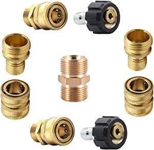"""ZHJJ Pressure Washer Adapter Set,Nozzle-Hose-Gun Fitting,Quick Disconnect Kit, M22 Swivel to 3/8"""" Quick Connect, 3/4"""" Quick Release,9-Pack"""