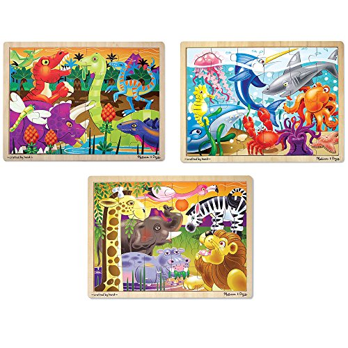 Melissa And Doug Wooden Puzzles (Melissa & Doug 3-Puzzle Jigsaw Set - Dinosaurs, Ocean, and)