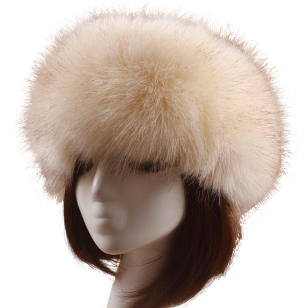 Vovotrade Men Women Winter Faux Fox Fur Hat Soft Ski Headdress Cap