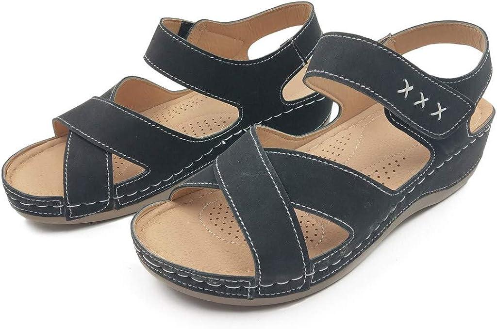Winjin Sandales Compensees Femme, Boho De Plage Chaussures Mode Chaussons Ete En Paille Tongs Femme Shoes Flat Cheville Roman Nu-pieds Casual Noir