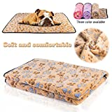 iNNEXT Puppy Blanket Pet Cushion Small Dog Cat Bed Soft Warm Sleep Mat, Pet Dog Cat Puppy Kitten Soft Blanket Doggy Warm Bed Mat Paw Print Cushion (Dahlia Yellow-Large Size)