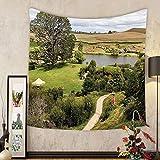 Gzhihine Custom tapestry Hobbits Tapestry Overhill Matamata New Zealand Hobbiton Movie Set Hobbit Land Village Movie Set Image Bedroom Living Room Dorm Decor Green Brown
