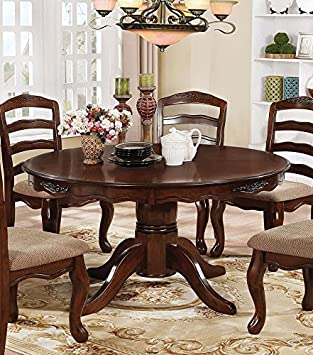 Townsville Dark Walnut Wood Round Dining Table by Furniture of America