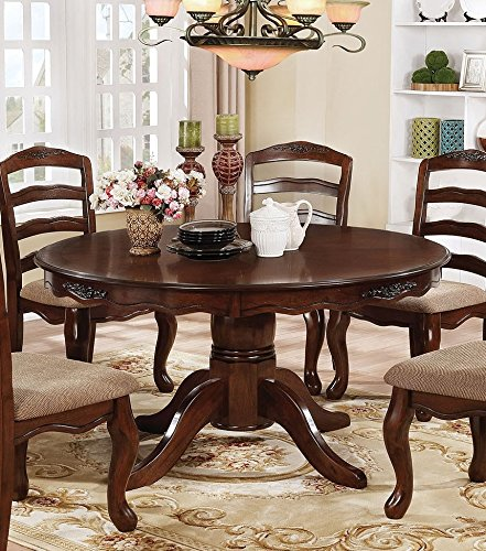 (Townsville Dark Walnut Wood Round Dining Table by Furniture of America)