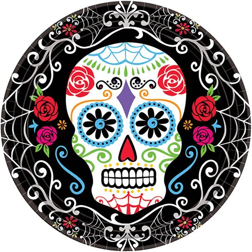 Day of the Dead Sugar Skull Disposable Round Dessert Plates, 18 Pieces, Made from Paper, Multi Color, 7