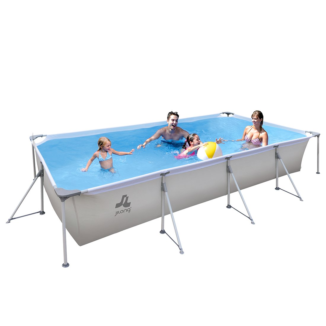 Jilong Swimming Pool Passaat Grey - Steel frame pool 394x207x80 cm, family baths for garden and terrace.
