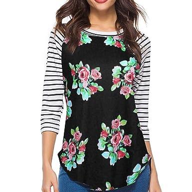 13fae42227a59 MORCHAN❤Mode Automne Hiver Slim Rayure Floral Femmes Blouse Manches 3 4  Impression t-Shirt Confortable décontracté Tops Sweat Cardigan Manteau  Blouson ...