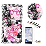 STENES iPhone 8 Case, iPhone 7 Case - Stylish - 3D Handmade Bling Crystal Skull Rose Flowers Design Wallet Credit Card Slots Fold Media Stand Leather Cover Screen Protector - Pink