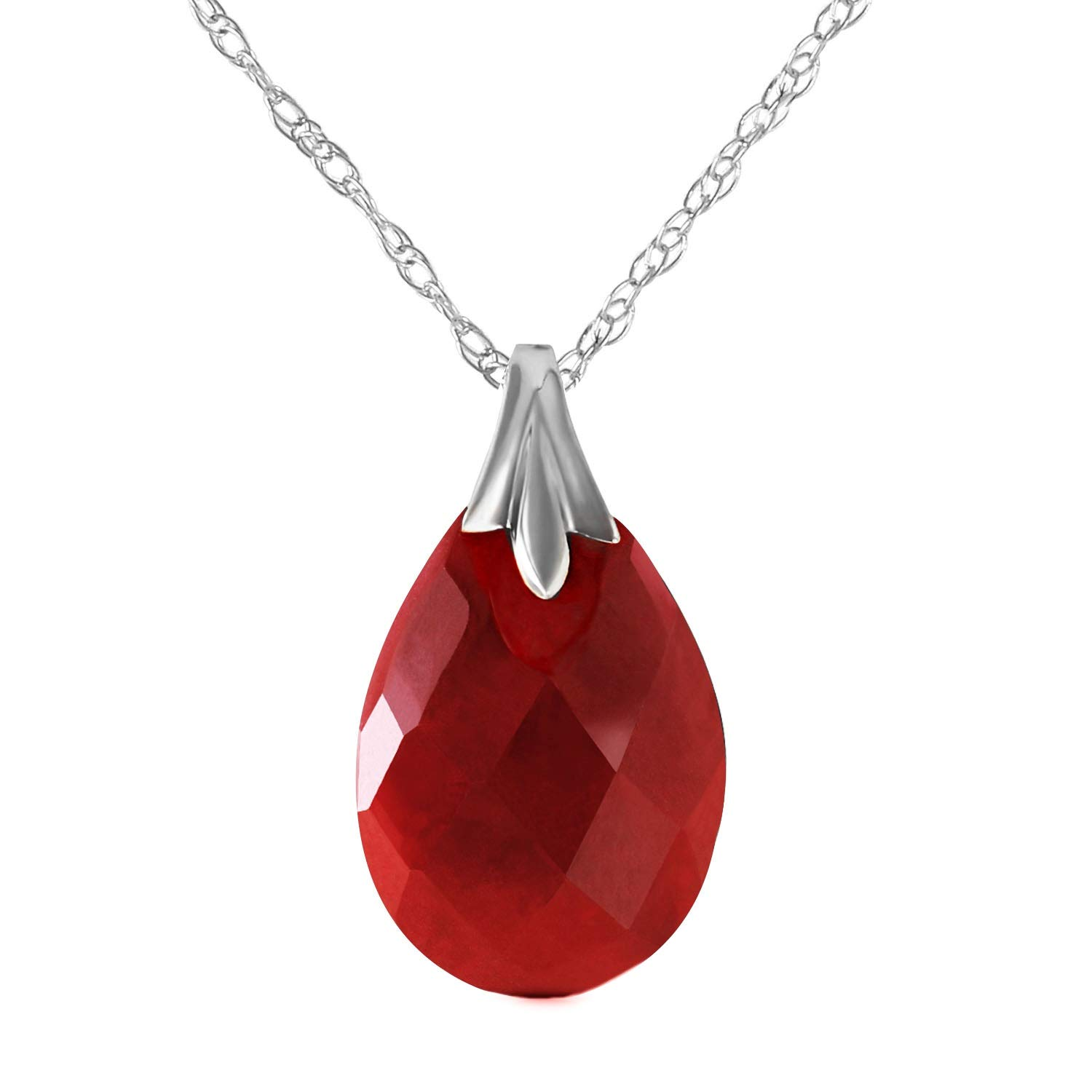 Galaxy Gold 14k Solid White Gold Pendant Necklace with Flat Pear Shape Briolette Cut Dyed Natural Ruby Pendant High Polished (18)