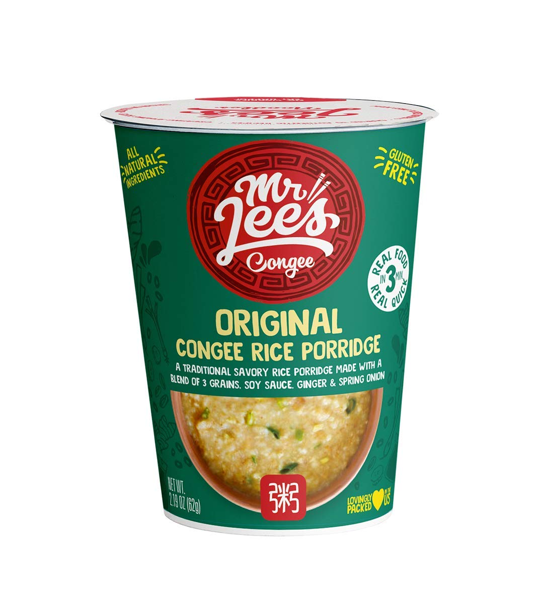 Mr Lee's Congee Low Fat Low Sugar 8 x Instant Savoury Rice Porridge with Soy Sauce, Ginger & Spring Onion. Gluten Free. Made from All Natural Ingredients.