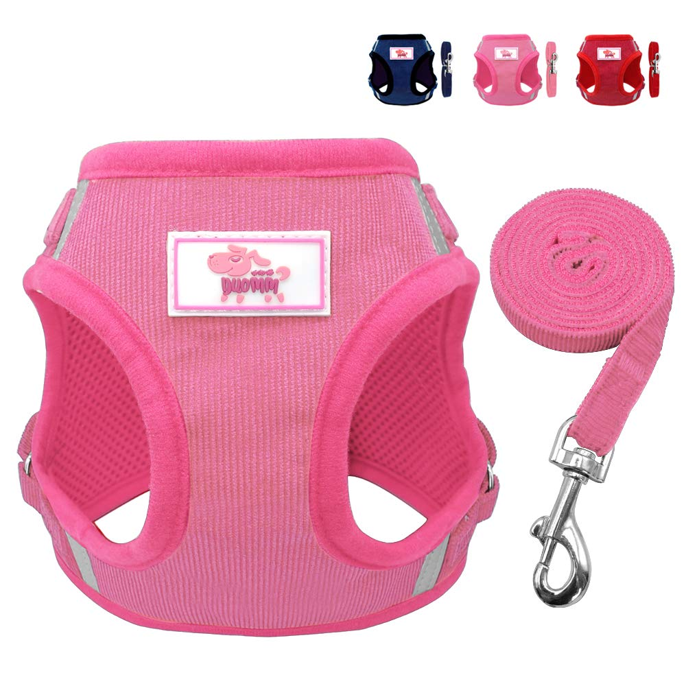 Beirui Reflective Dog Vest & Leash Set - Soft Harness Medium Large Dogs & Cats - Comfort Step-in Mesh Padded Harness 4ft Leash Pet Supplies,Pink Chest 18.5'' by Beirui (Image #1)